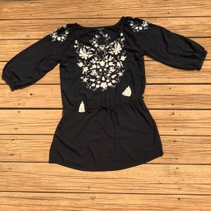 Lucky Brand Boho Floral Embroidered Tunic Dress